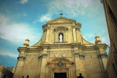 The Gozo Cathedral inside the Citadel of Victoria or Rabat - Victoria, Gozo, Malta.  Royalty Free Stock Images