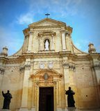 The Gozo Cathedral inside the Citadel of Victoria or Rabat - Victoria, Gozo, Malta.  Royalty Free Stock Photography
