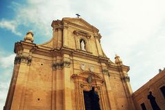 The Gozo Cathedral inside the Citadel of Victoria or Rabat - Victoria, Gozo, Malta.  Royalty Free Stock Image