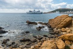 Gozo channel line exiting mgarr harbour View Horizontal. stock image