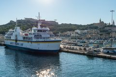 Gozo Channel Line Moored in Gozo Mgarr stock photo
