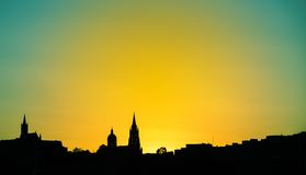 Gozo church on sunset background.  Royalty Free Stock Photos