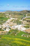 Gozo countryside and buildings during the Spring. Elevated view towards Ghasri and Marsalforn and surrounding countryside seen from the citadel, Victoria Rabat Stock Photos