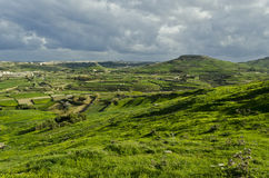 Gozo countryside - Malta. The green hills of the beautiful island of Gozo Stock Photos