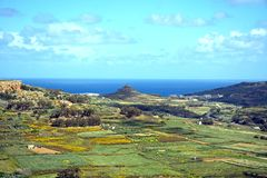 Gozo countryside seen from the citadel, Malta. Elevated view looking North at the surrounding countryside seen from the citadel, Victoria Rabat, Gozo, Malta Stock Image
