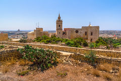 Gozo domkyrka i citadell Royaltyfria Foton