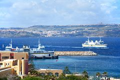 Ferry near the terminal at Paradise Bay, Malta. Gozo ferry in the ferry terminal with views towards Gozo, Paradise Bay, Malta, Europe Royalty Free Stock Photography