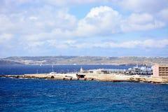 Ferry terminal to Gozo at Paradise Bay, Malta. Gozo ferry in the ferry terminal with views towards Gozo, Paradise Bay, Malta, Europe Stock Photo