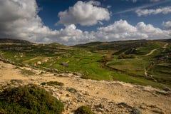 Gozo interior rural landscape, Malta, winter. Gozo interior rural landscape, terraced fields around San Lawrenz and Dwejra Bay, countryside Malta, winter Royalty Free Stock Image