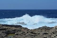 Heart. Gozo Island - stormy seas near the Azure Window. Azure blue sea with wild waves Stock Image