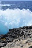 Gozo Island - azure wave. Gozo Island - stormy seas near the Azure Window. Azure blue sea with wild waves Stock Photos
