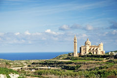Gozo island landscape in malta. With cathedral of ta pinu Royalty Free Stock Photos