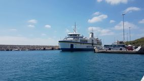 Gozo Island, Malta - August 03 2016: Gozo Channel Line Ferry departing Gozo port. There is a frequent schedule from Gozo Ferry Terminal to Malta mainland stock footage