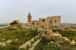 Gozo island, Malta, Citadel. Wide angle view of the medieval citadel, Victoria, Gozo Island, Malta Stock Photography