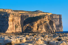 Gozo island on Malta, closeup on coastline of Dweira cliffs. Gozo island on Malta, closeup on coastline of Dwejra cliffs near Azure Window that had recently Stock Photo