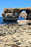 Gozo Island, Malta, July 18, 2016. The famous blue window. royalty free stock photography