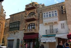 Gozo Island: Maltese architecture in downtown of Rabat, Malta. Typical, scenic Maltese architecture details in Rabat Victoria, at Gozo Island, Malta. There are Royalty Free Stock Images