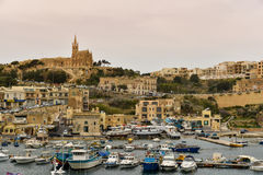 Gozo island, Mgarr, Malta. A view of the port of Mgarr on the island of Gozo, the main harbour and the point of arrival for ferries from mainland of Malta Royalty Free Stock Photos