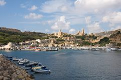 Gozo Island: Scenic landscape of Mgarr Harbour, Malta Stock Photography