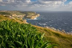 Gozo landscape, view on Xlendi bay and Malta, winter. Gozo landscape, view on Xlendi bay and Malta, Mediterranean Sea, winter. shallow depth of field Stock Images