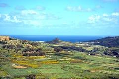 Gozo-Landschaft gesehen von der Zitadelle, Malta Stockbild