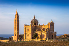 Gozo, Malta - The Basilica of Ta` Pinu at sunset Stock Photos