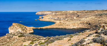 Gozo, Malta - The famous Azure Window with the Fungus rock and Dwejra bay. On a beautiful summer day with clear blue sky Royalty Free Stock Image