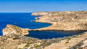 Gozo, Malta - The famous Azure Window with the Fungus rock and Dwejra bay. On a beautiful summer day with clear blue sky Royalty Free Stock Photos