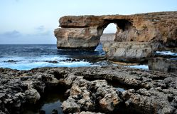 Gozo Malta Holiday azure window. Blue sea and rocks of  Republic of Malta Stock Image