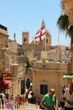 Gozo, Malta, July 2016. Numerous tourists in the ancient streets of the island's capital. stock photo
