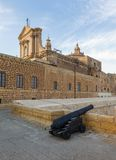 Gozo, Rabat, cannon in castle with cloudy sky. 2013 Royalty Free Stock Photo