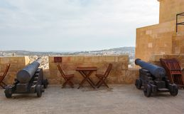 Gozo, Rabat, cannon in castle with cloudy sky Stock Photos