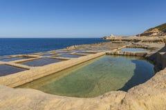 GOZO SALT PANS. THE SALT PANS OF GOZO ISLAND - MALTA stock images