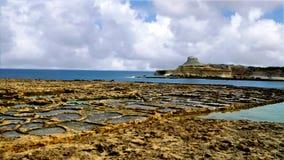 Gozo Salt pans. Gozo, Mediterranean island near Malta.  These are the ancient salt pans Royalty Free Stock Image