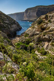 Gozo Xlendi Bay. Cliffs near Xlendi bay at Gozo island Stock Photos