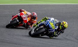GP CATALUNYA MOTO GP. That celebrates on days 13-15 June 2014 at Circuit de Barcelona-Catalunya Riders: Marc Marquez and Valentino Rossi royalty free stock images
