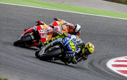 GP CATALUNYA MOTO GP. That celebrates on days 13-15 June 2014 at Circuit de Barcelona-Catalunya Riders: Marc Marquez, Valentino Rossi and Dani Pedrosa royalty free stock photography