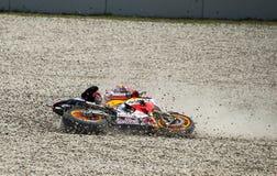 GP CATALUNYA MOTO GP 2015 -  MARC MARQUEZ CRASH Stock Image