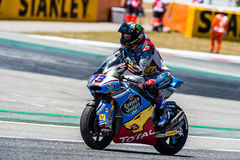 GP CATALUNYA MOTOGP. MOTO 2 RIDER ALEX MARQUEZ. BARCELONA, SPAIN  JUNE 11, 2017: Alex Marquez of Moto 2 during GP Monster Energy of Catalunya of MotoGP at Royalty Free Stock Image