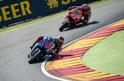 GP DEL GP ARAGÓN MOTO Jorge Lorenzo y Marc Marquez Foto de archivo libre de regalías