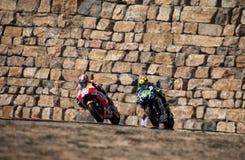 GP DEL GP L'ARAGONA MOTO DANIEL PEDROSA E VALENTINO ROSSI Immagine Stock