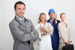 Gp, veterinário, trabalhador e trabalhador de escritório Imagem de Stock Royalty Free
