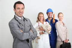Gp, veterinary, laborer and office worker Royalty Free Stock Image