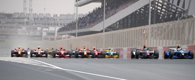 GP2 Asia 2008. DUBAI, UAE - APRIL 11-12 2008: GP2 Asia 1st race start, of the 5th and final round,  at Dubai Autodrome Royalty Free Stock Photo