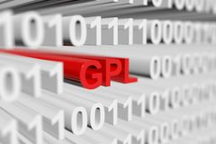 Gpl. As a binary code with blurred background 3D illustration Stock Images
