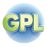 GPL blue sphere. 3d illustration render, GPL blue sphere Royalty Free Stock Image