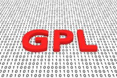 Gpl. In the form of binary code, 3D illustration Stock Photo