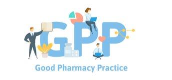 GPP, goede apotheekpraktijken Concept met sleutelwoorden, brieven en pictogrammen Vlakke vectorillustratie Geïsoleerd op wit stock illustratie