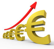 Gpp Increasing Shows Euro Sign And Accounting Stock Images