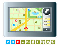 GPRS navigator. Abstract modern GPRS device with isolated map symbols Royalty Free Stock Photo